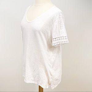 Talbots Cotton White Short Sleeve Top 2X